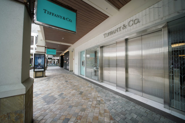 Ala Moana Shopping Center. Tiffany & Co. closed due to Coronavirus concerns on March 18, 2020.
