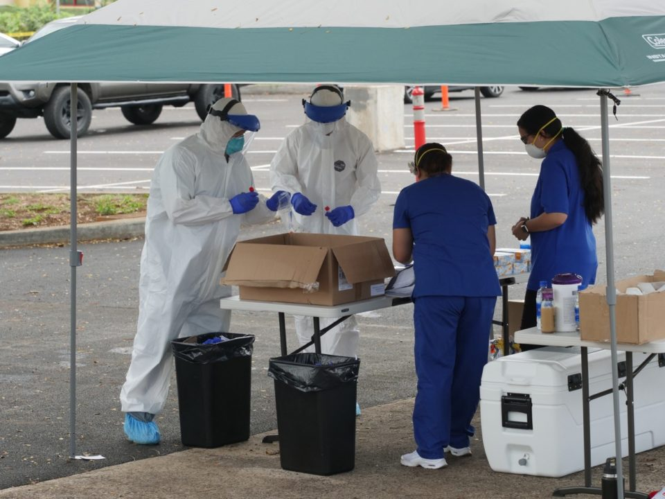 Volunteers and Honolulu city workers teamed up on Saturday to help distribute free COVID-19 testing to community members working in high risk professions or those exhibiting symptoms.