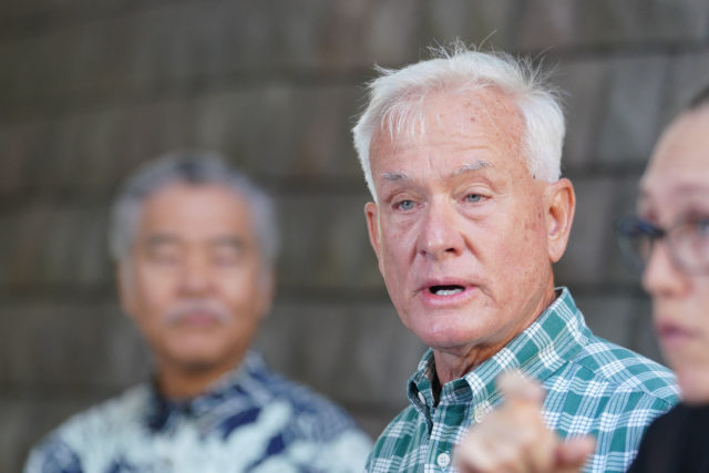 Mayor Kirk Caldwell at a press conference that Governor Ige announced 14 day quarantine for visitors arriving to Hawaii.