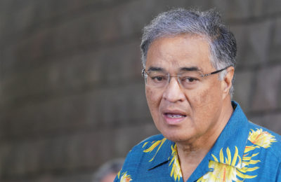President Hawaii Tourism and Lodging Association Mufi Hannemann during press conference that Governor Ige announced 14-day quarantine for all visitors due to Coronavirus outbreak.