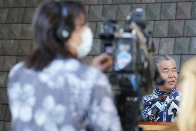 Governor David Ige announces 14 day quarantine for all incoming visitors to hawaii at press conference addressing Coronavirus concerns.