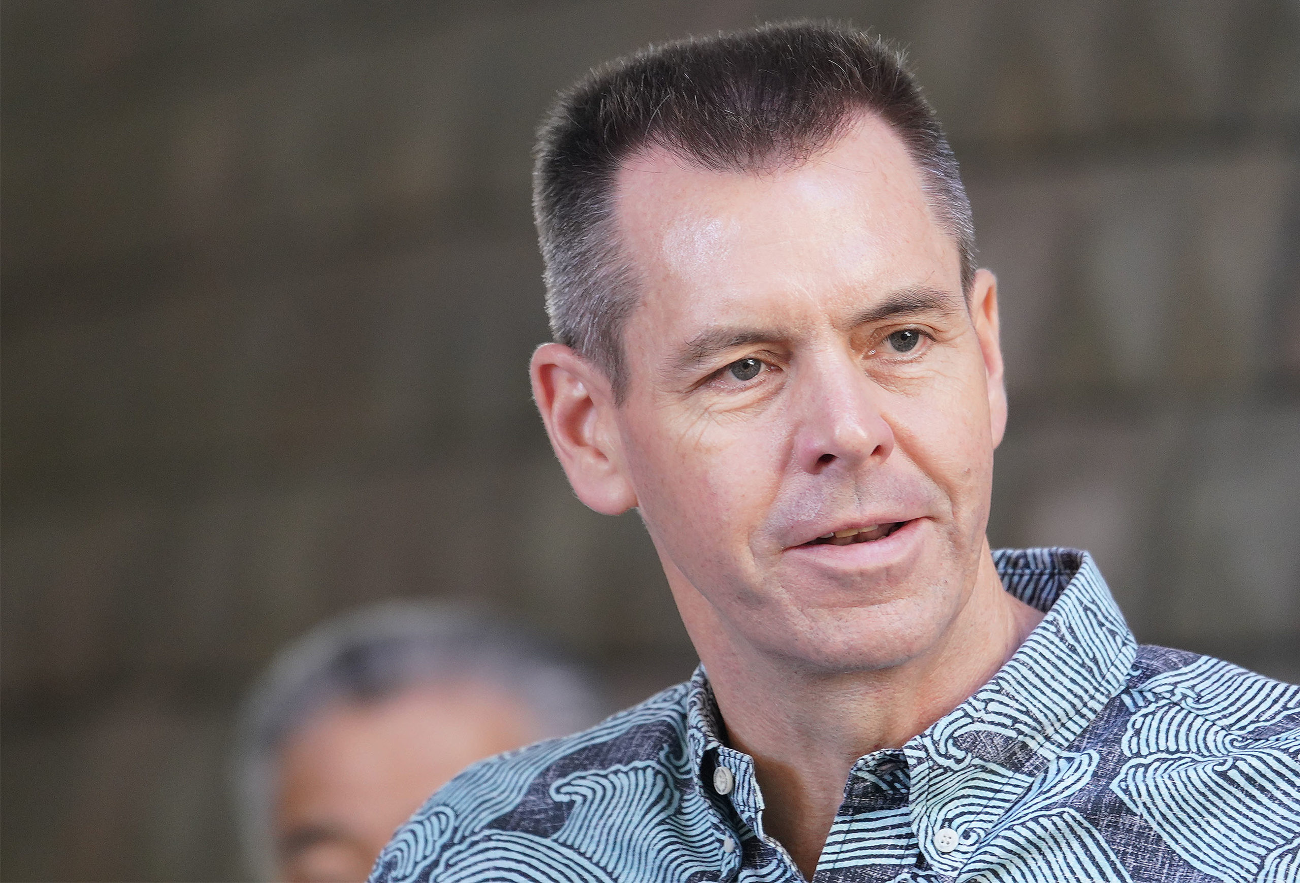 Hawaiian Airlines President CEO Peter Ingram answers questions at the Capitol during a press conference that Governor Ige announced mandatory 14 day self quarantine for incoming visitors to Hawaii.