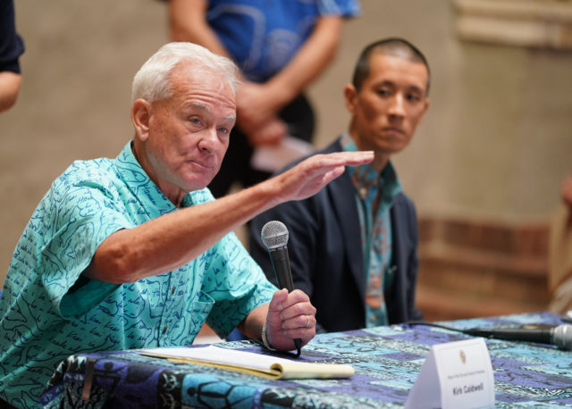 Mayor Kirk Caldwell during questions and answer session during press conference. Coronavirus