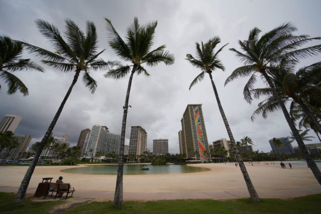 There are more coconut trees than visitors at the Hilton Lagoon after the mandatory visitor 14-day quarantine for out of state arrivals.