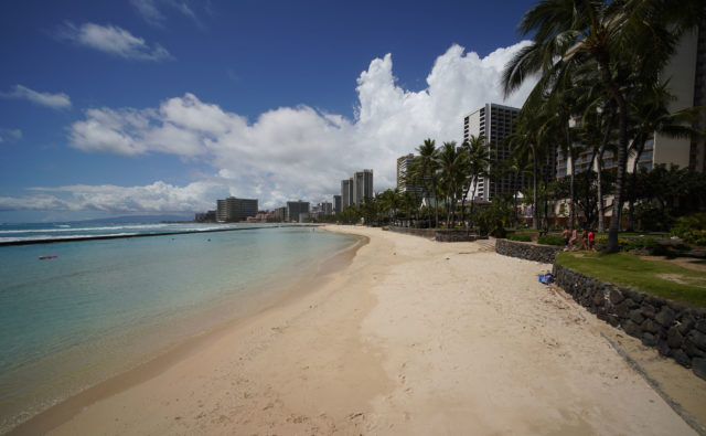 April 1, 2020. Waikiki Beach near the Kapahulu Groin no one due to state orders to shelter at home.