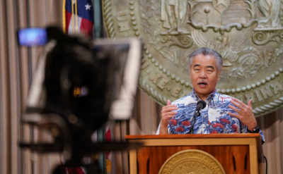 Governor David Ige gestures during Coronavirus COVID-19 press conference held at Capitol. April 8, 2020