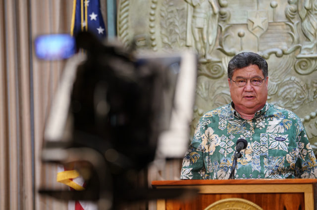 Senate President Ron Kouchi speaks during Coronavirus COVID19 press conference. April 8, 2020.