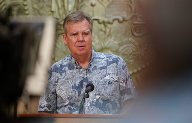 Dept of Health Director Bruce Anderson during Governor Ige's press conference on April 8, 2020.