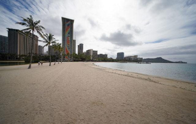 Waikiki Beach is empty during the Coronavirus COVID-19 pandemic. April 13, 2020.