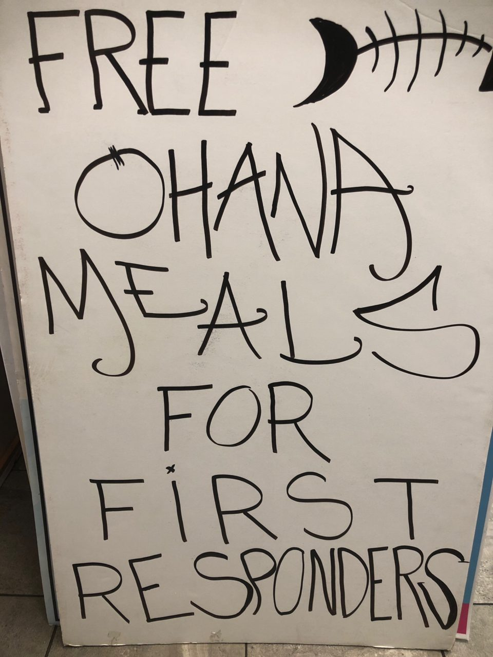 Down The Hatch Maui  Free meals for first responders sign