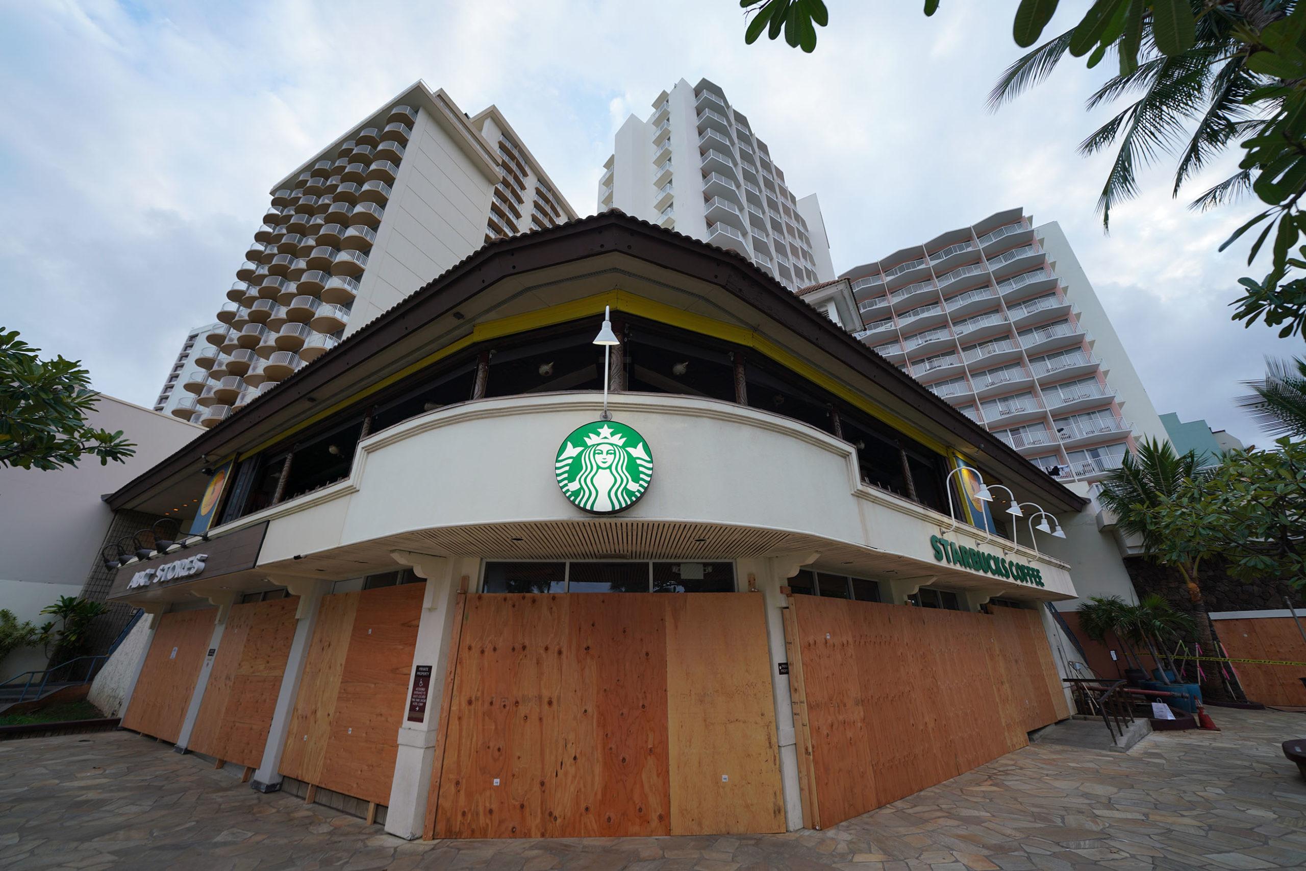 Waikiki COVID19 Coronavirus Starbucks Coffee boarded up 2020 - Honolulu Civil Beat