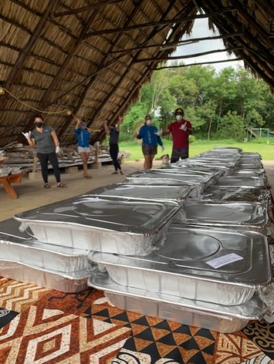 Kamehameha Schools' Kapālama campus and Community Engagement and Resources staff set up a grab and go meals distribution to serve the community during the COVID-19 crisis.