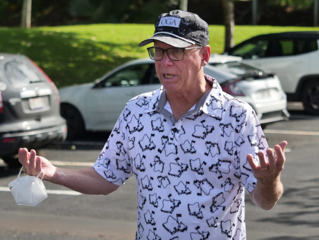 Dr. Scott Miscovich was on-sight to oversee the COVID Command Mobile Unit volunteers as they screened and tested Hawaii residents who showed up for the free drive through testing event in Wahiwa,HI on Wednesday, April 22, 2020. (Ronen Zilberman photo Civil Beat)
