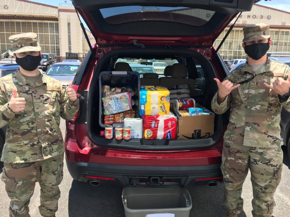 Joint Base Pearl Harbor-Hickam airmen are helping the Farrington High School community  collect more than 500 pounds of food, cleaning supplies, masks and toiletries and $700 in donations.