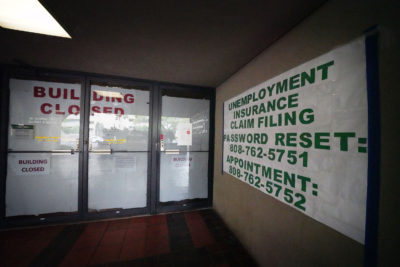 Unemployment Insurance office located at the Princess Ruth Keelikolani Building . DLIR