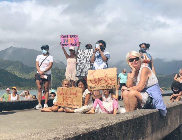 Hanalei, Kauai, George Floyd, Black Lives Matter, Paddle Out, Protest