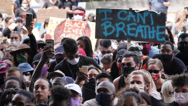 Black Lives Matter marchers arrive at the Capitol.