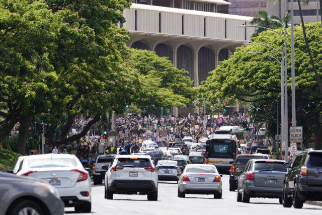 Black Lives Matter marchers arrive Capitol after marching from Ala Moana Beach Park.