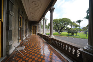 Social distanced chairs near the entrance of Iolani Palace for people to sit when they put on their booties during COVID-19 pandemic.