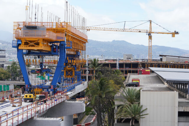 Rail guideway is being built at the Daniel K Inouye International Airport. June 11, 2020