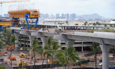 HART rail guideway near the Daniel K Inouye International Airport with a view of Diamond Head in the background. June 11, 2020