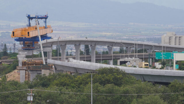 HART rail guideway almost connecting near the Daniel K Inouye International Airport, Pearl Harbor entrance side. June 11, 2020