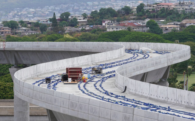 HART rail guideway near Daniel K Inouye International Airport as the guideway snakes towards Middle Street during COVID-19 pandemic. June 11, 2020