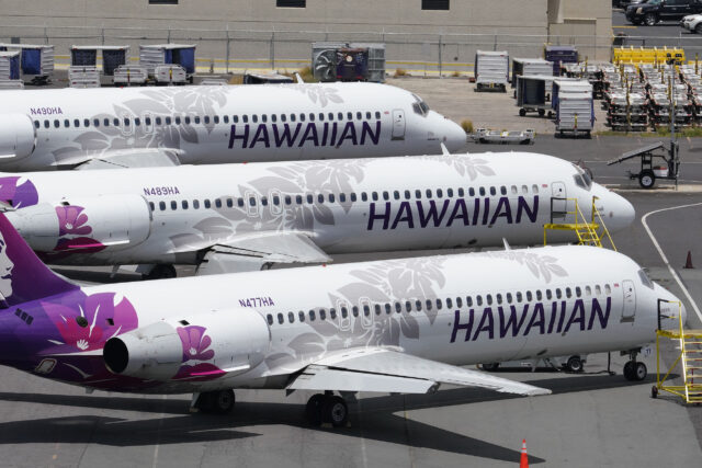 Hawaiian Airlines aircraft parked at the Daniel K Inouye International Airport, interisland terminal side of the airport. June 11, 2020