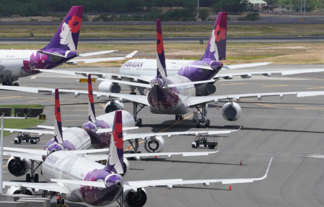 Hawaiian Airlines aircraft parked at the Daniel K Inouye International Airport, interisland terminal side of the airport during COVID-19 pandemic. June 11, 2020