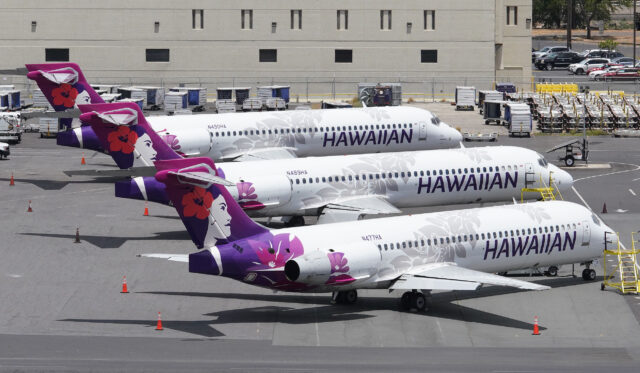 Hawaiian Airlines aircraft parked at the Daniel K Inouye International Airport, interisland terminal side of the airport. June 11, 2020