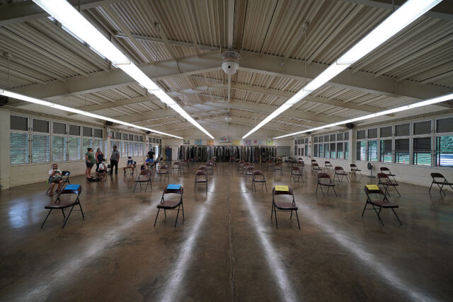 Social distanced chairs arranged in the Kaneohe Elementary School cafeteria during summer school session with COVID-19 pandemic. June 12, 2020