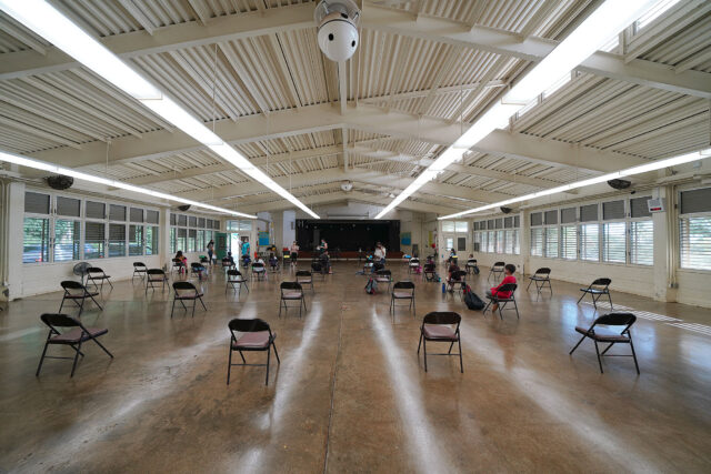 Kaneohe Elementary School cafeteria summer school with socially distanced chairs during COVID-19 pandemic. June 12, 2020