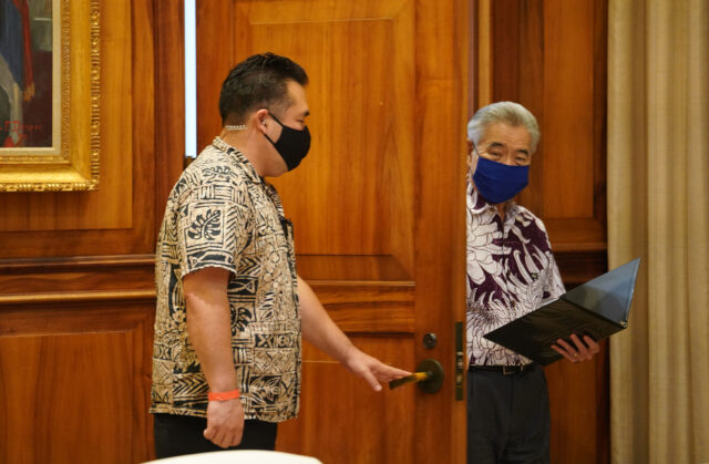 Governor David Ige enters Ceremonial room during COVID-19 pandemic. June 15, 2020