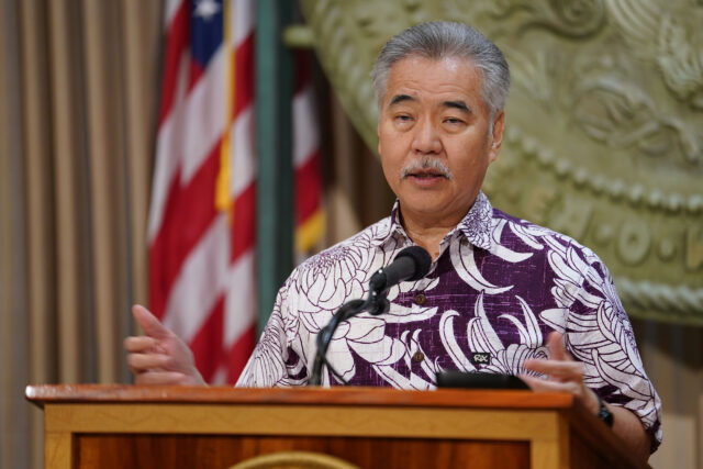 Governor David Ige gestures during press conference announcing interisland flights to reopen tomorrow. June 15, 2020