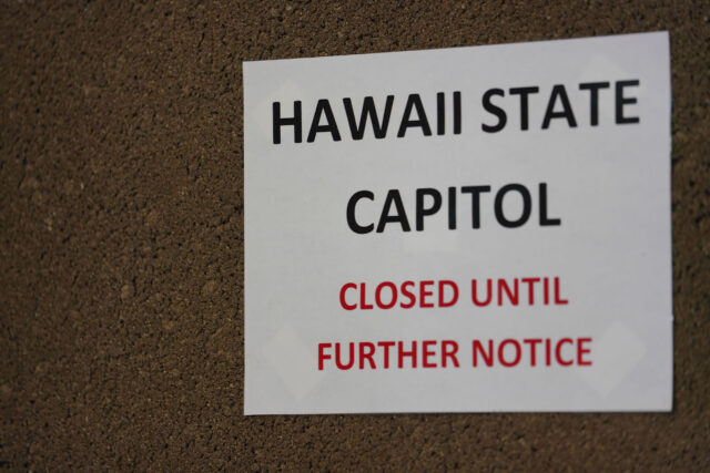 HAWAII STATE CAPITOL CLOSED sign near the Rotunda elevators during COVID-19 pandemic. June 22, 2020