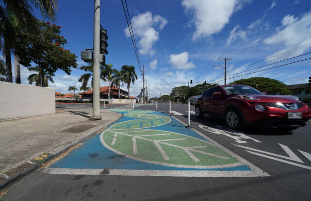 Wayfinders painted intersection at Haka Drive and North King Street.