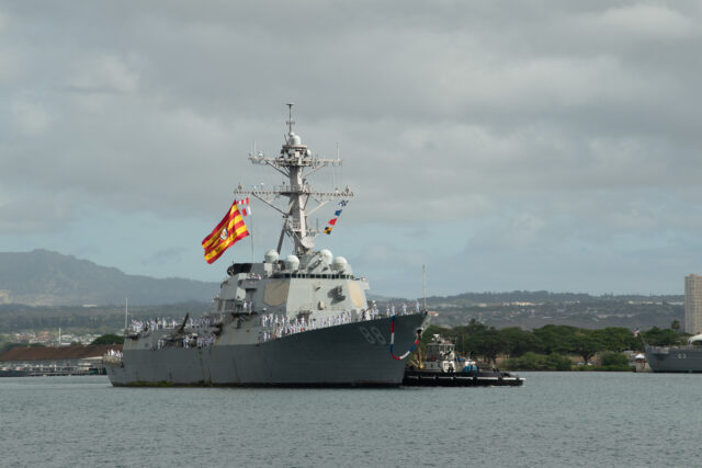 200625-N-MQ703-1018 PEARL HARBOR (June 25, 2020) Arleigh Burke-class guided-missile destroyer USS Preble (DDG 88) returns to Joint Base Pearl Harbor-Hickam following the ship's surge deployment to the U.S. 4th Fleet area of operations, June 25. Preble joined other U.S. Navy warships, numerous U.S. agencies from the Departments of Defense, Justice and Homeland Security cooperating in the effort to combat transnational organized crime. The Coast Guard, U.S. Navy, Customs and Border Protection, FBI, Drug Enforcement Administration, and Immigration and Customs Enforcement, along with allied and international partner agencies, are all playing a role in counter-drug operations. (U.S. Navy Photo by Mass Communication Specialist Seaman Jaimar Carson Bondurant)