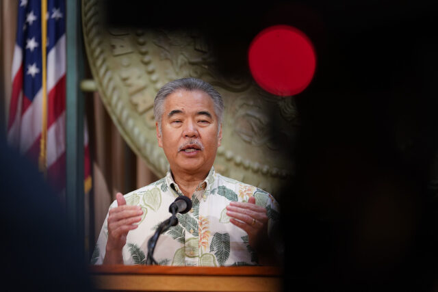 Governor David Ige gestures during press conference announcing a spike of 41 new cases of COVID-19. July 7, 2020