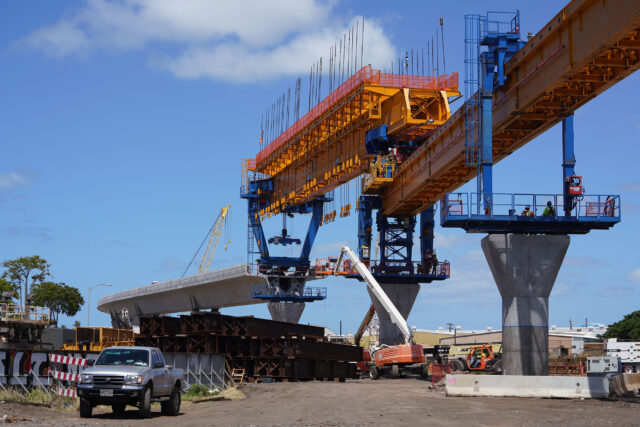 HART rail guideway columns leaving Airport industrial area as construction moves towards Middle Street. July10, 2020