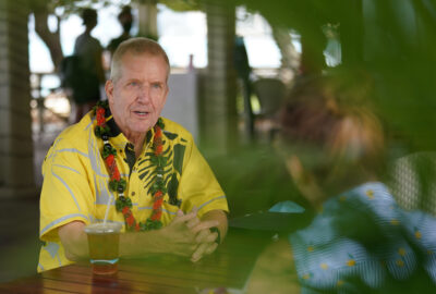 Steve Alm candidate for Honolulu Prosecutor is interviewed at Barefoot Cafe.