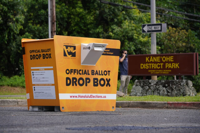 Primary Election Official Ballot drop box located at Kaneohe District park.