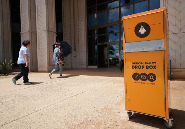 Kapolei Hale Ballot Drop Box at the front entrance.