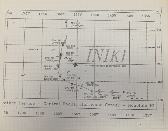 A chart showing Hurricane Iniki's path through the Hawaiian Islands, Sept. 1992. The storms path was originally projected to continue West before it unexpectedly turned towards Kauai. (U.S. Coast Guard Photo courtesy of Petty Officer 3rd Class Matthew West/Released)