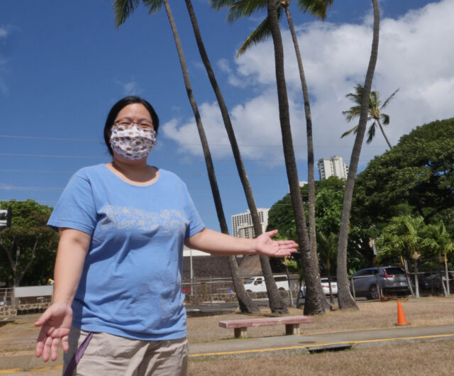 Melissa Ching-Goya, a speech pathologist of the Hawaii School for Deaf and the Blind in Honolulu, HI, Wednesday, July 29, 2020. (Ronen Zilberman photo Civil Beat)
