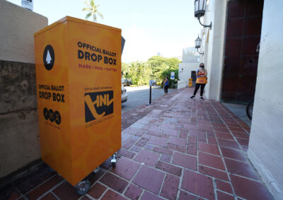 Official Ballot drop box outside Honolulu Hale. August 6, 2020