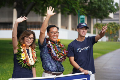 Honolulu Mayoral Candidate Keith Amemiya with left, wife Bonny Amemiya and son, Christopher Amemiya at the corner of Punchbowl and Beretania Street. August 8, 2020