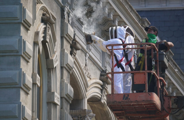 Left, Jasmine Joy from Beelieve uses smoking coconut husk with colleague Elko Evans and right, Bob's Equipment Sales and Rentals lift operator Paul Pestana to survey the bee nest on the Iolani Palace roof eaves. Later, Elko will use a Sawzall to cut into and remove the bee colony.