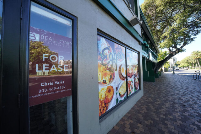 Eggs and Things closed along Saratoga Road in the Heart of Waikiki with 'For Lease' sign placed in vacant space during COVID-19 pandemic. August 12, 2020