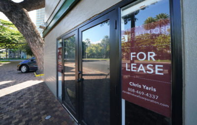 For Lease signs along vacant buildings along Saratoga Road in the heart of Waikiki during COVID-19 pandemic. August 12, 2020