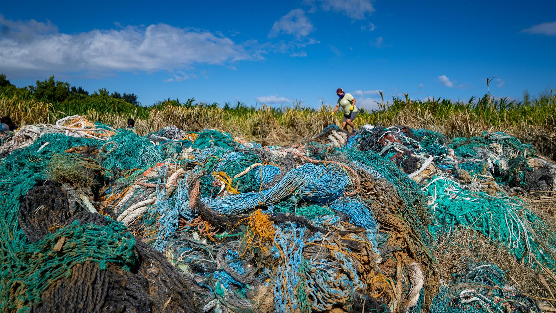 Kamilo Beach Cleanup Debri Net Pile